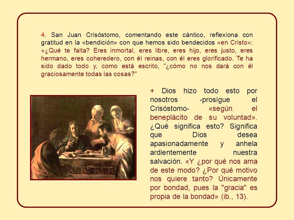 Esta especie de salmo neotestamentario centra su atención sobre todo en la historia de la salvación, que es expresión y signo vivo de la «benevolencia