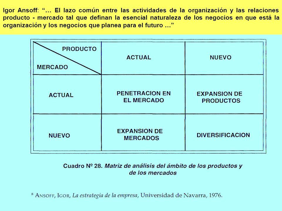 Igor Ansoff: … El lazo común entre las actividades de la organización y las relaciones producto - mercado tal que definan la esencial naturaleza de lo