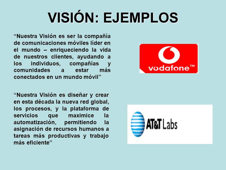 VISIÓN: EJEMPLOS Nuestra Visión es diseñar y crear en esta década la nueva red global, los procesos, y la plataforma de servicios que maximice la auto