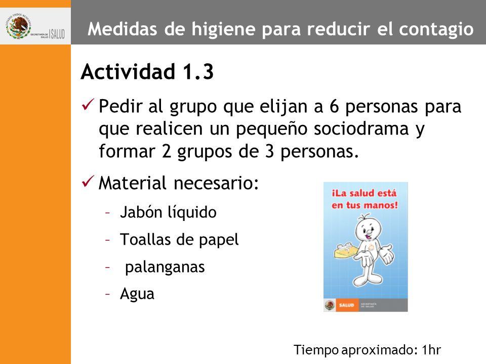 Medidas de higiene para reducir el contagio Actividad 1.3 Pedir al grupo que elijan a 6 personas para que realicen un pequeño sociodrama y formar 2 gr