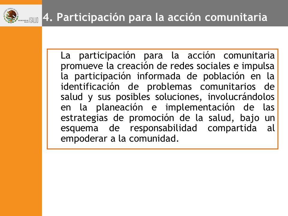 4. Participación para la acción comunitaria La participación para la acción comunitaria promueve la creación de redes sociales e impulsa la participac