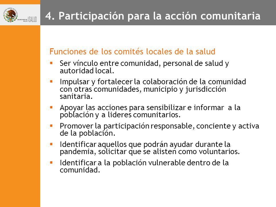 4. Participación para la acción comunitaria Funciones de los comités locales de la salud Ser vínculo entre comunidad, personal de salud y autoridad lo