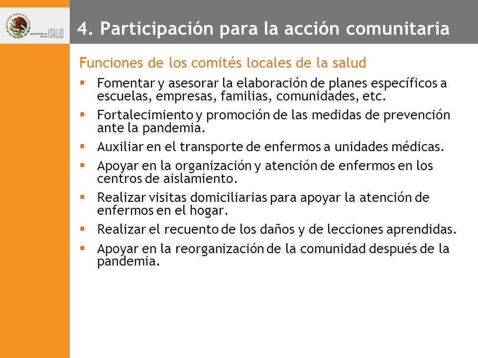 4. Participación para la acción comunitaria Funciones de los comités locales de la salud Fomentar y asesorar la elaboración de planes específicos a es