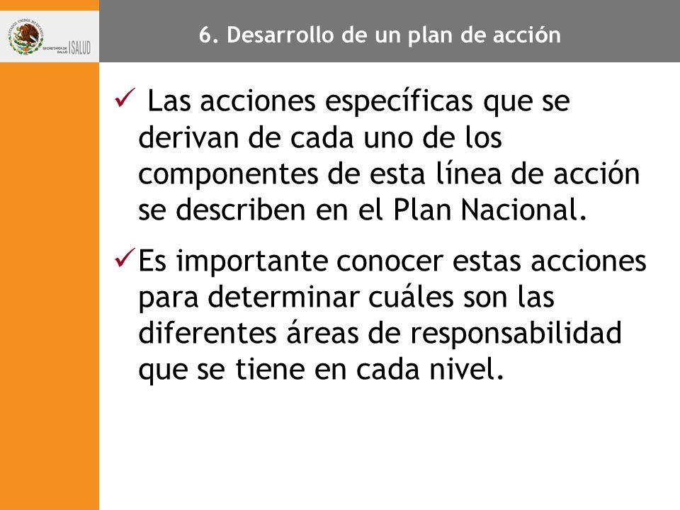 Las acciones específicas que se derivan de cada uno de los componentes de esta línea de acción se describen en el Plan Nacional. Es importante conocer