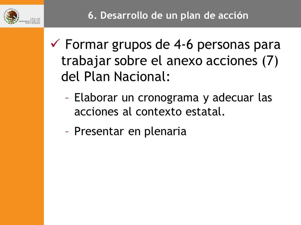 6. Desarrollo de un plan de acci ó n Formar grupos de 4-6 personas para trabajar sobre el anexo acciones (7) del Plan Nacional: –Elaborar un cronogram