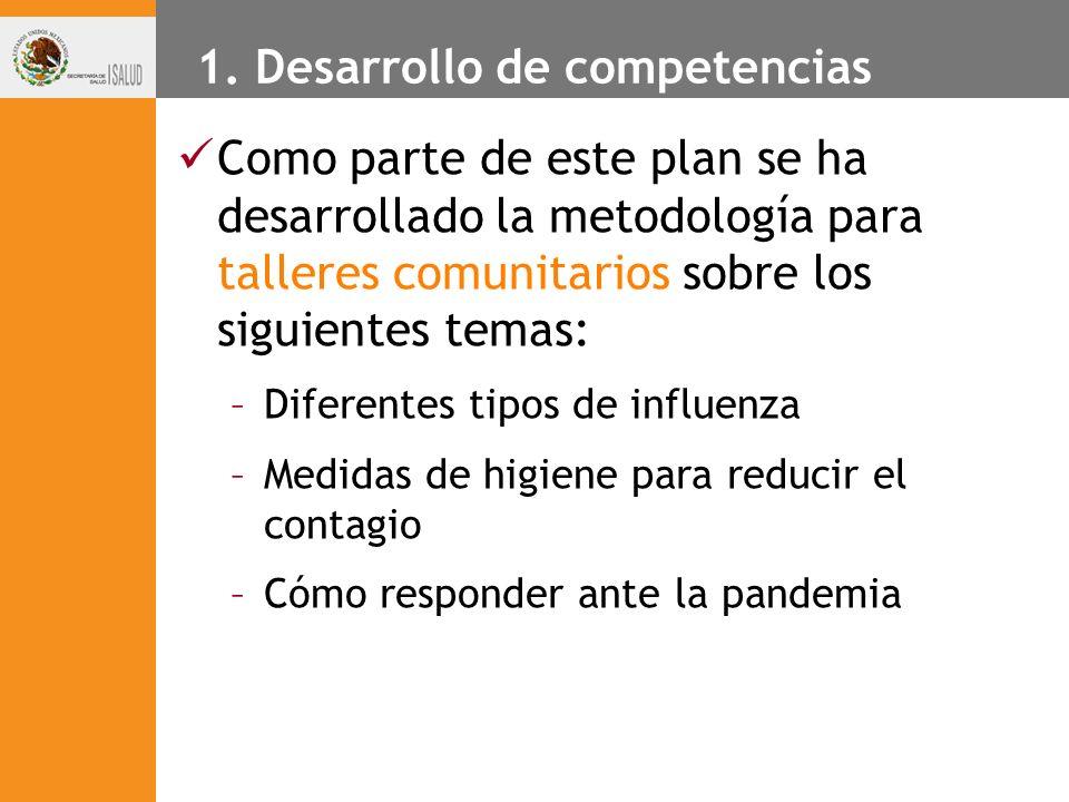 1. Desarrollo de competencias Como parte de este plan se ha desarrollado la metodología para talleres comunitarios sobre los siguientes temas: –Difere