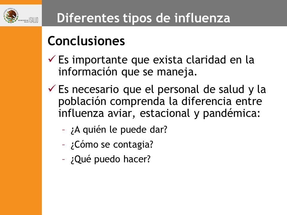 Diferentes tipos de influenza Conclusiones Es importante que exista claridad en la información que se maneja. Es necesario que el personal de salud y
