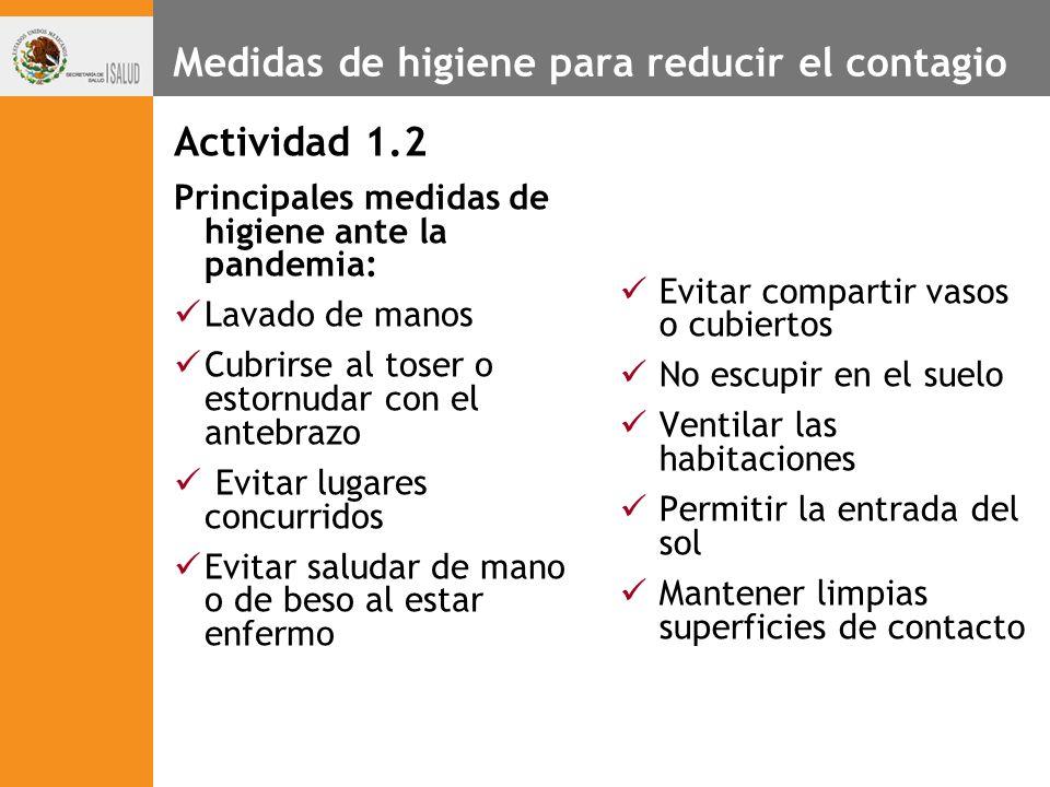 Medidas de higiene para reducir el contagio Actividad 1.2 Principales medidas de higiene ante la pandemia: Lavado de manos Cubrirse al toser o estornu