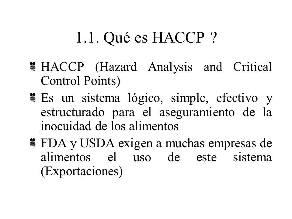 1.1. Qué es HACCP ? HACCP (Hazard Analysis and Critical Control Points) Es un sistema lógico, simple, efectivo y estructurado para el aseguramiento de