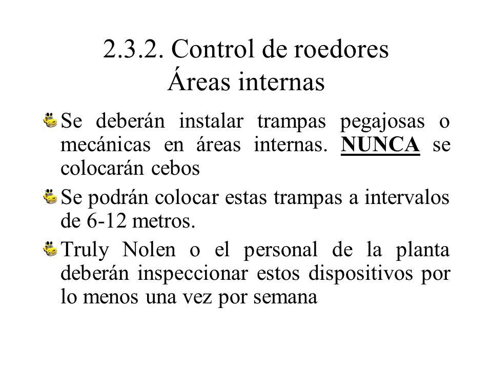 2.3.2. Control de roedores Áreas internas Se deberán instalar trampas pegajosas o mecánicas en áreas internas. NUNCA se colocarán cebos Se podrán colo