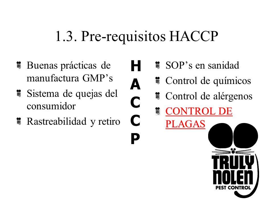 1.3. Pre-requisitos HACCP Buenas prácticas de manufactura GMPs Sistema de quejas del consumidor Rastreabilidad y retiro SOPs en sanidad Control de quí
