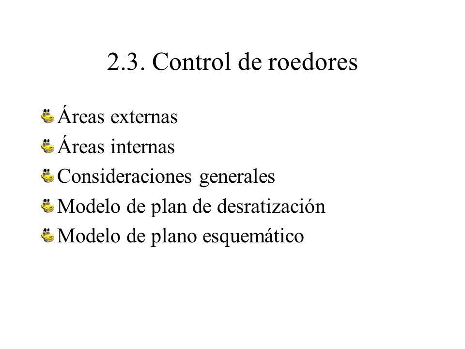 2.3. Control de roedores Áreas externas Áreas internas Consideraciones generales Modelo de plan de desratización Modelo de plano esquemático