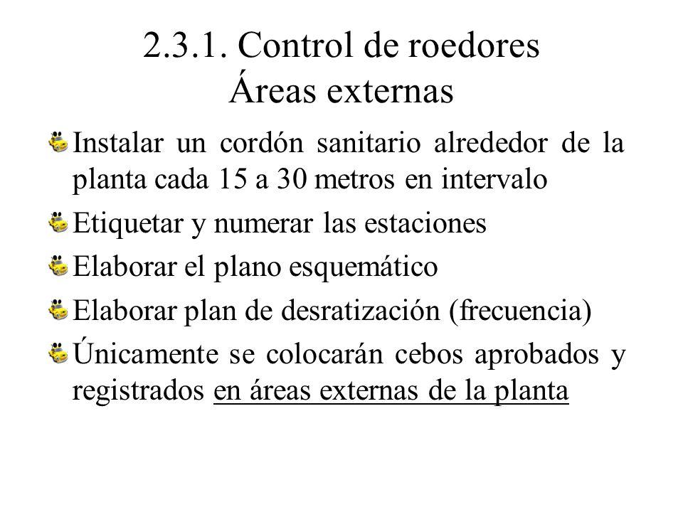 2.3.1. Control de roedores Áreas externas Instalar un cordón sanitario alrededor de la planta cada 15 a 30 metros en intervalo Etiquetar y numerar las