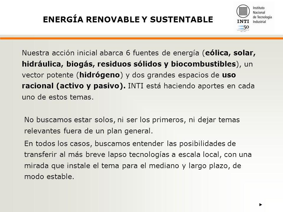 Nuestra acción inicial abarca 6 fuentes de energía (eólica, solar, hidráulica, biogás, residuos sólidos y biocombustibles), un vector potente (hidrógeno) y dos grandes espacios de uso racional (activo y pasivo).