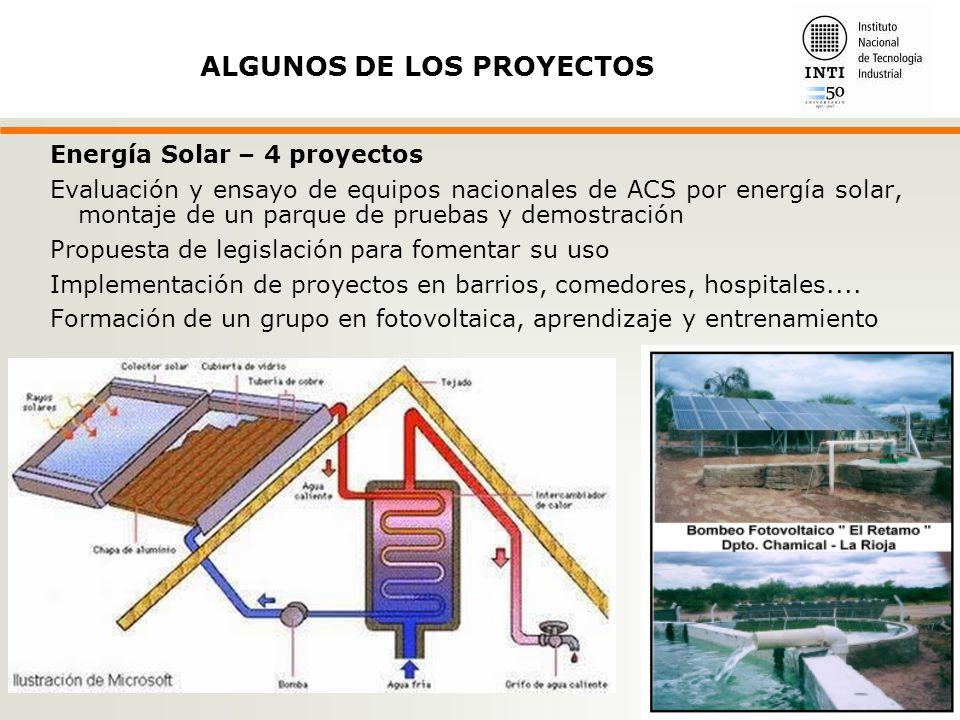 Energía Solar – 4 proyectos Evaluación y ensayo de equipos nacionales de ACS por energía solar, montaje de un parque de pruebas y demostración Propuesta de legislación para fomentar su uso Implementación de proyectos en barrios, comedores, hospitales....