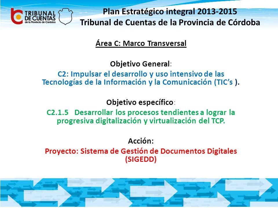 Plan Estratégico integral 2013-2015 Tribunal de Cuentas de la Provincia de Córdoba Área C: Marco Transversal Objetivo General: C2: Impulsar el desarro