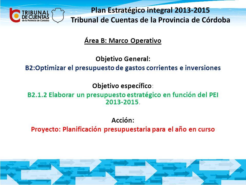 Área B: Marco Operativo Objetivo General: B2:Optimizar el presupuesto de gastos corrientes e inversiones Objetivo específico: B2.1.2 Elaborar un presu