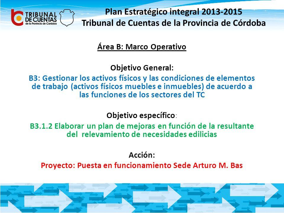 Plan Estratégico integral 2013-2015 Tribunal de Cuentas de la Provincia de Córdoba Área B: Marco Operativo Objetivo General: B3: Gestionar los activos