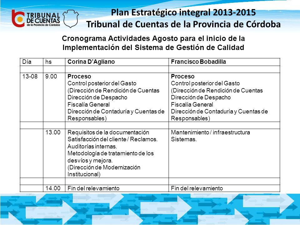 Plan Estratégico integral 2013-2015 Tribunal de Cuentas de la Provincia de Córdoba Cronograma Actividades Agosto para el inicio de la Implementación d