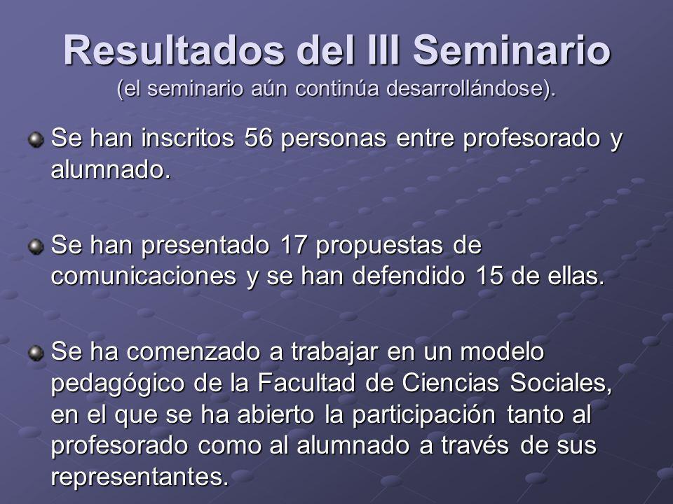Resultados del III Seminario (el seminario aún continúa desarrollándose). Se han inscritos 56 personas entre profesorado y alumnado. Se han presentado