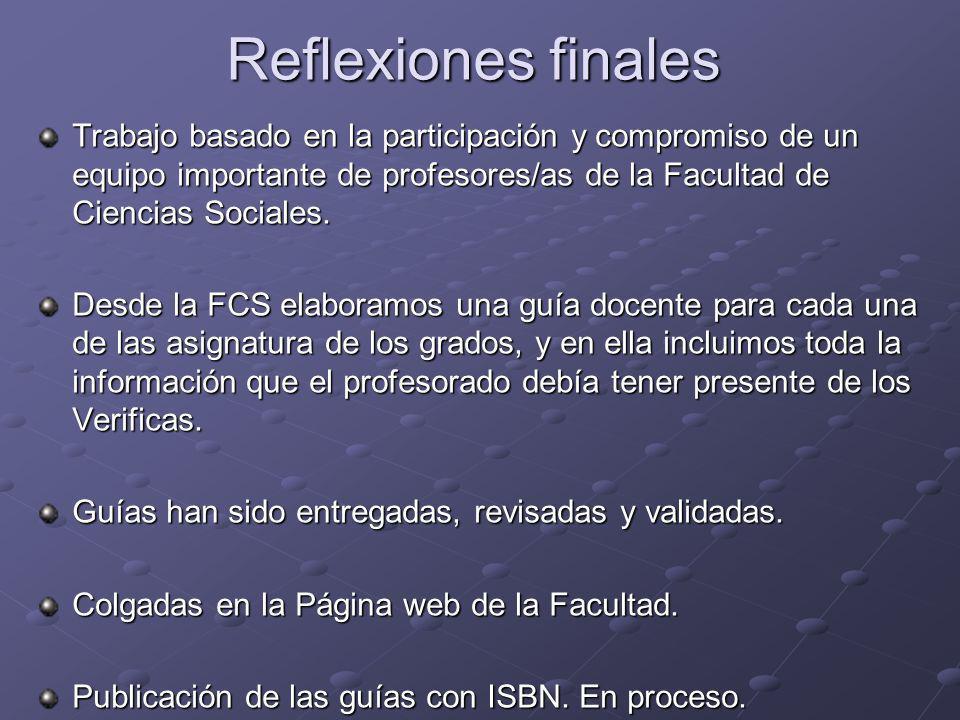 Reflexiones finales Trabajo basado en la participación y compromiso de un equipo importante de profesores/as de la Facultad de Ciencias Sociales.