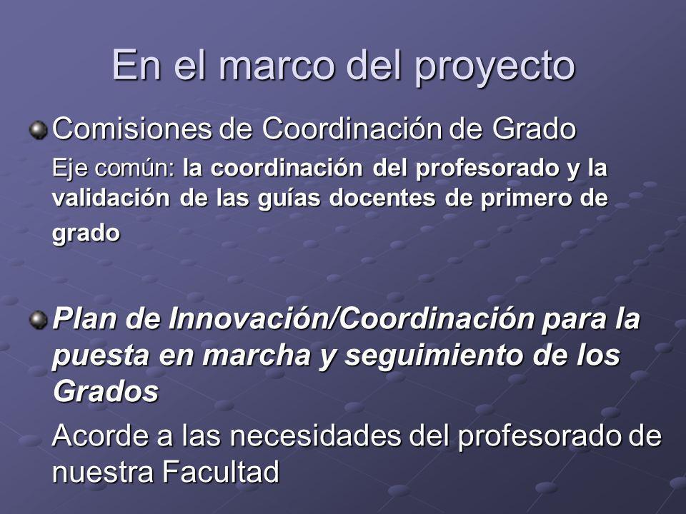 En el marco del proyecto Comisiones de Coordinación de Grado Eje común: la coordinación del profesorado y la validación de las guías docentes de prime