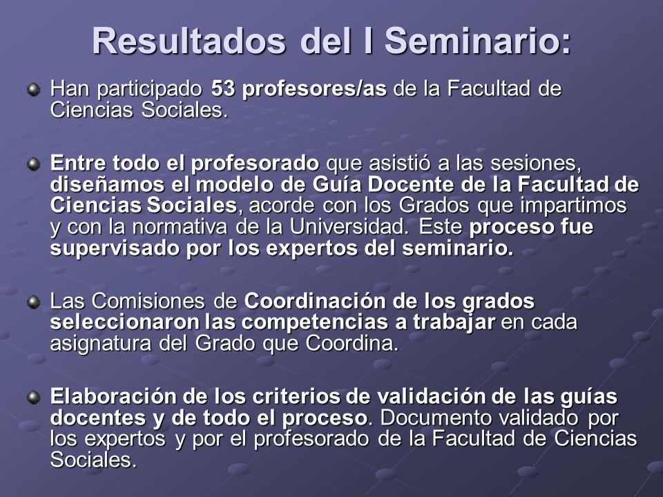Resultados del I Seminario: Han participado 53 profesores/as de la Facultad de Ciencias Sociales. Entre todo el profesorado que asistió a las sesiones