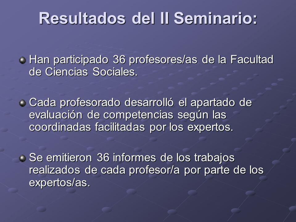Resultados del II Seminario: Han participado 36 profesores/as de la Facultad de Ciencias Sociales. Cada profesorado desarrolló el apartado de evaluaci