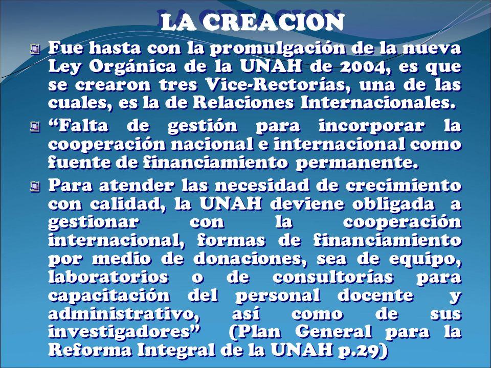 LA CREACION Fue hasta con la promulgación de la nueva Ley Orgánica de la UNAH de 2004, es que se crearon tres Vice-Rectorías, una de las cuales, es la