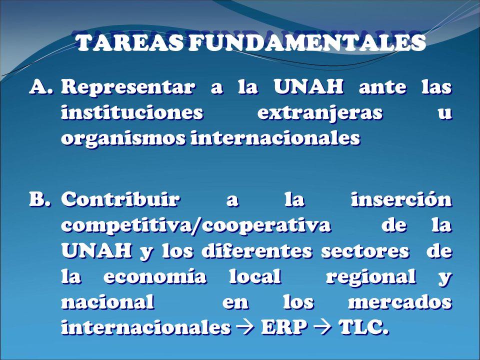 TAREAS FUNDAMENTALES A.Representar a la UNAH ante las instituciones extranjeras u organismos internacionales B.Contribuir a la inserción competitiva/c