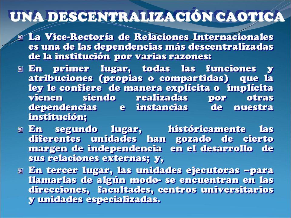 UNA DESCENTRALIZACIÓN CAOTICA La Vice-Rectoría de Relaciones Internacionales es una de las dependencias más descentralizadas de la institución por var
