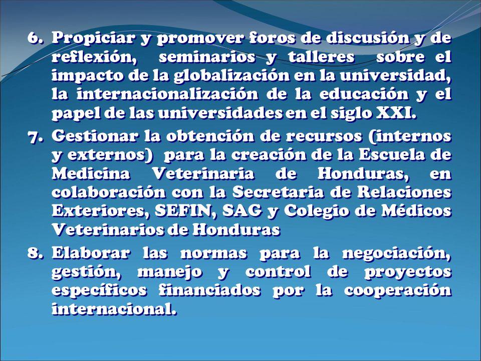 6.Propiciar y promover foros de discusión y de reflexión, seminarios y talleres sobre el impacto de la globalización en la universidad, la internacion
