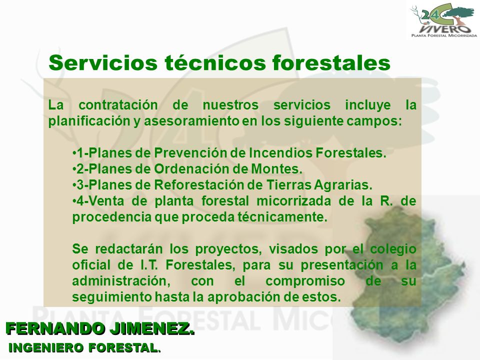 FERNANDO JIMENEZ. INGENIERO FORESTAL. Servicios técnicos forestales La contratación de nuestros servicios incluye la planificación y asesoramiento en
