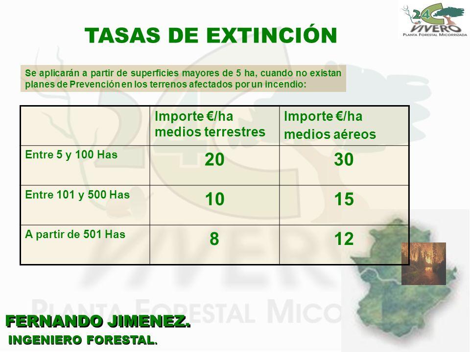 FERNANDO JIMENEZ. INGENIERO FORESTAL. TASAS DE EXTINCIÓN Se aplicarán a partir de superficies mayores de 5 ha, cuando no existan planes de Prevención