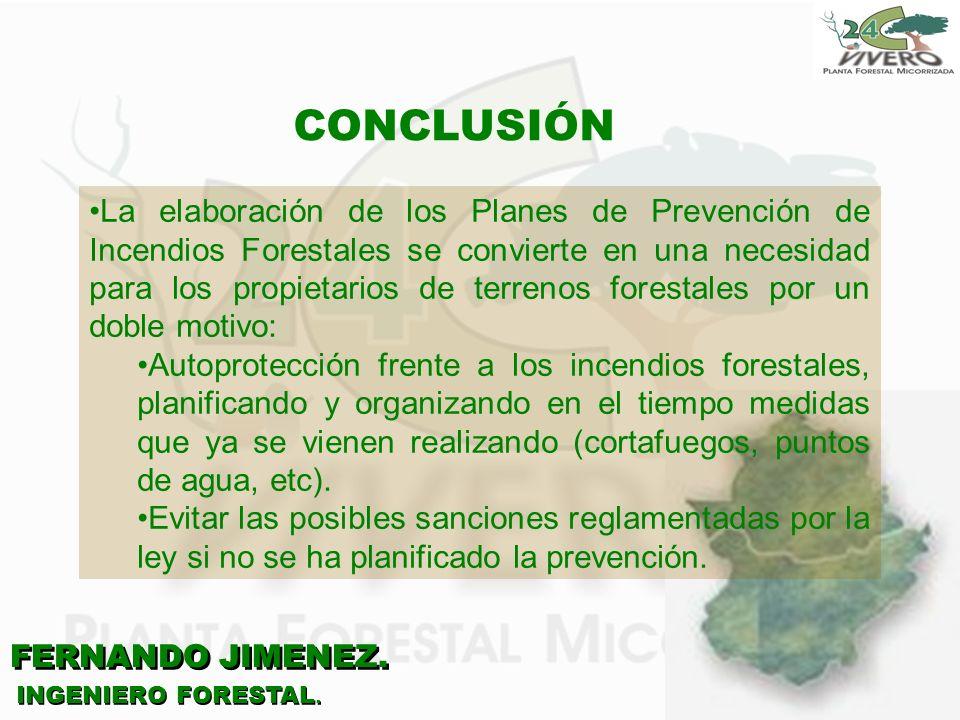 FERNANDO JIMENEZ. INGENIERO FORESTAL. CONCLUSIÓN La elaboración de los Planes de Prevención de Incendios Forestales se convierte en una necesidad para