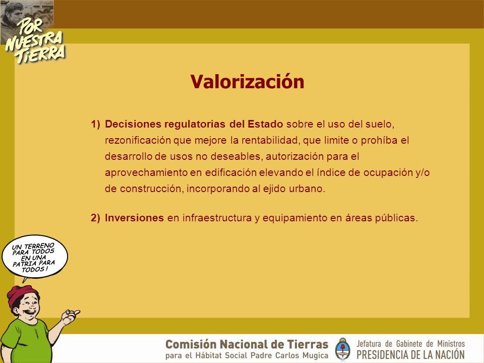 UN TERRENO PARA TODOS EN UNA PATRIA PARA TODOS ! Valorización 1)Decisiones regulatorias del Estado sobre el uso del suelo, rezonificación que mejore l