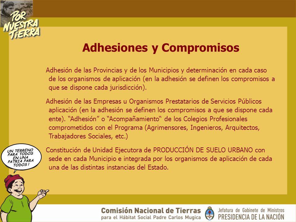UN TERRENO PARA TODOS EN UNA PATRIA PARA TODOS ! Adhesiones y Compromisos Adhesión de las Provincias y de los Municipios y determinación en cada caso