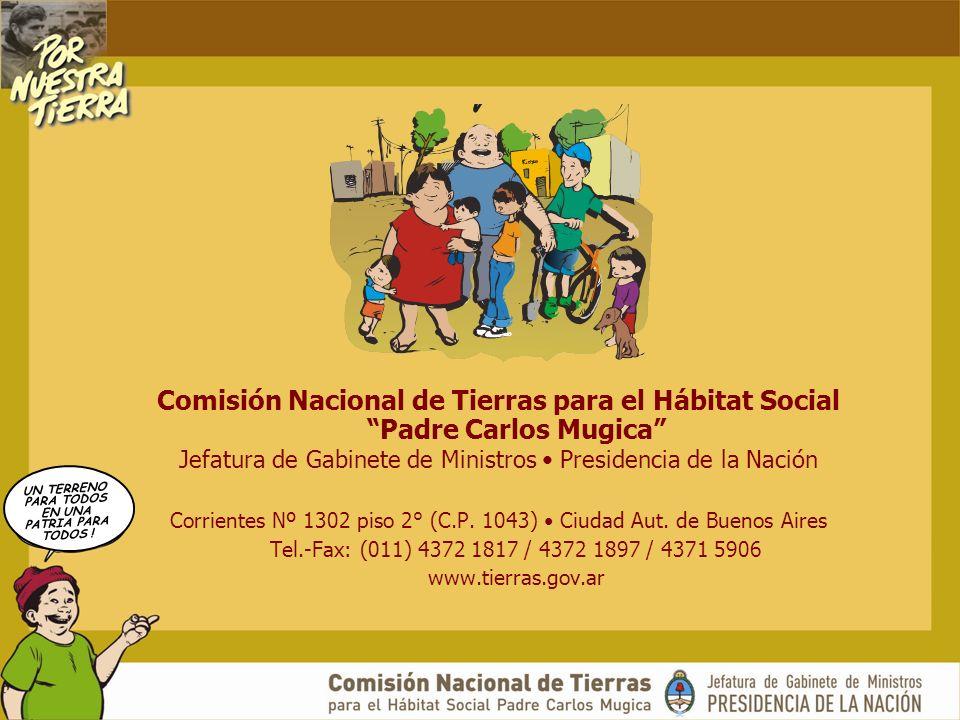 UN TERRENO PARA TODOS EN UNA PATRIA PARA TODOS ! Comisión Nacional de Tierras para el Hábitat Social Padre Carlos Mugica Jefatura de Gabinete de Minis