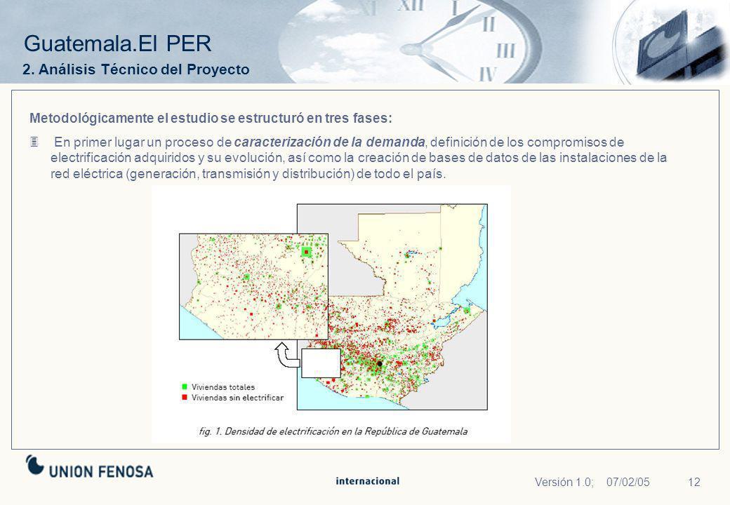 12Versión 1.0; 07/02/05 Guatemala.El PER Metodológicamente el estudio se estructuró en tres fases: En primer lugar un proceso de caracterización de la