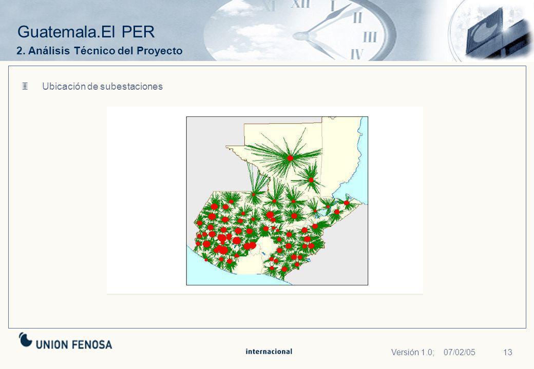 13Versión 1.0; 07/02/05 Guatemala.El PER Ubicación de subestaciones 2. Análisis Técnico del Proyecto