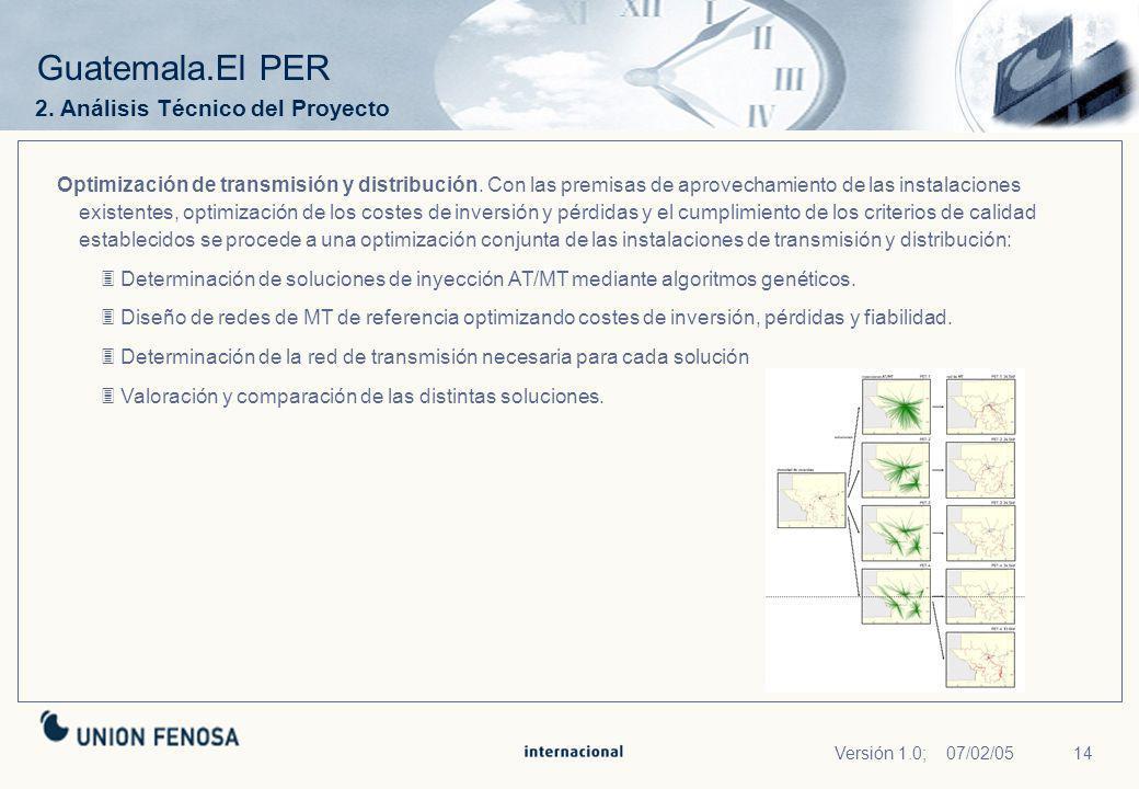 14Versión 1.0; 07/02/05 Guatemala.El PER Optimización de transmisión y distribución. Con las premisas de aprovechamiento de las instalaciones existent
