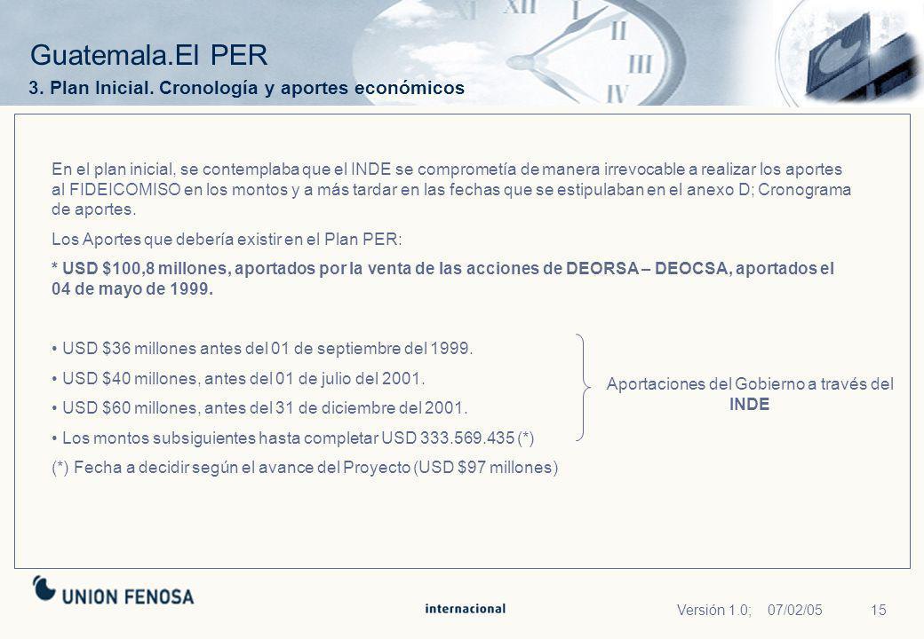 15Versión 1.0; 07/02/05 Guatemala.El PER 3. Plan Inicial. Cronología y aportes económicos En el plan inicial, se contemplaba que el INDE se comprometí