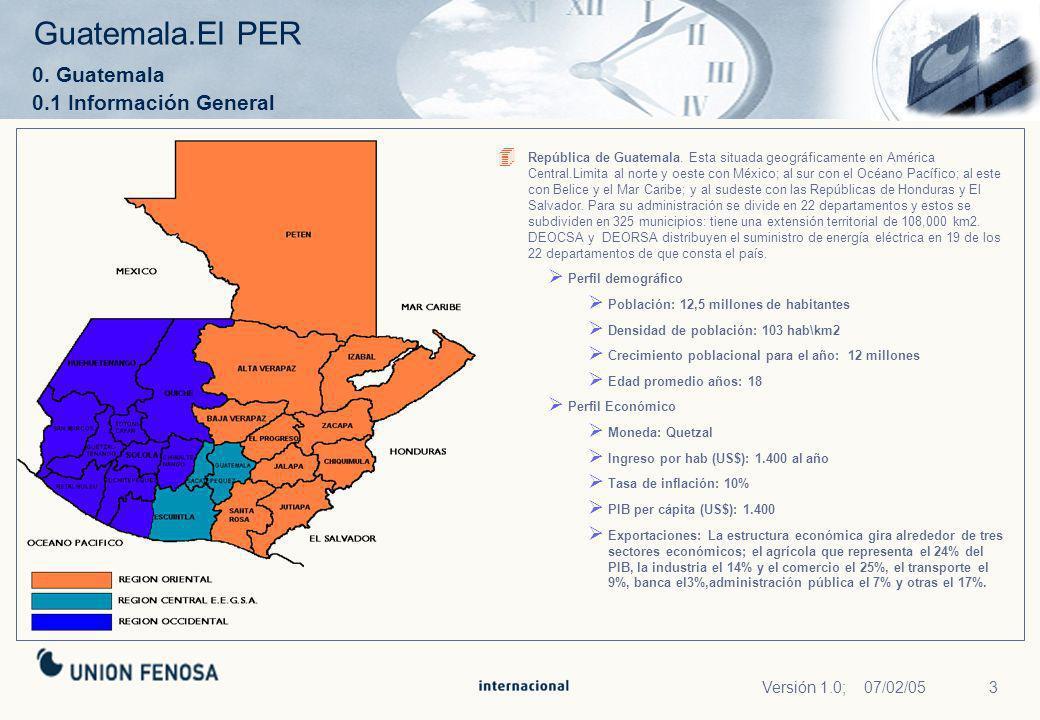 3Versión 1.0; 07/02/05 Guatemala.El PER 0. Guatemala 0.1 Información General República de Guatemala. Esta situada geográficamente en América Central.L
