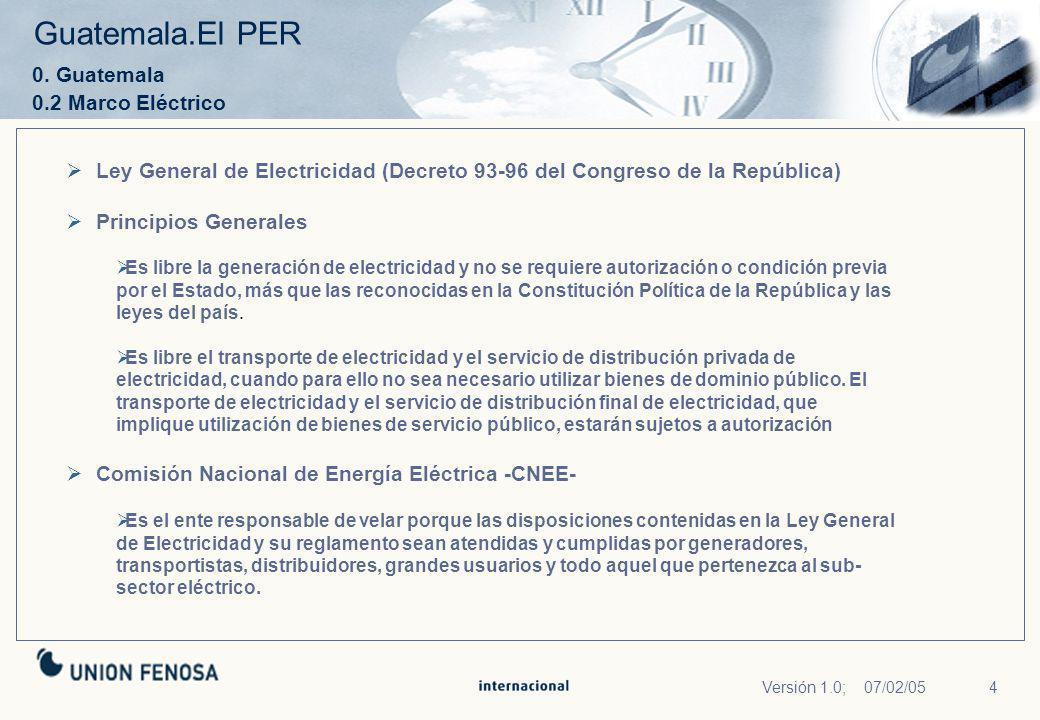4Versión 1.0; 07/02/05 Guatemala.El PER 0. Guatemala 0.2 Marco Eléctrico Ley General de Electricidad (Decreto 93-96 del Congreso de la República) Prin