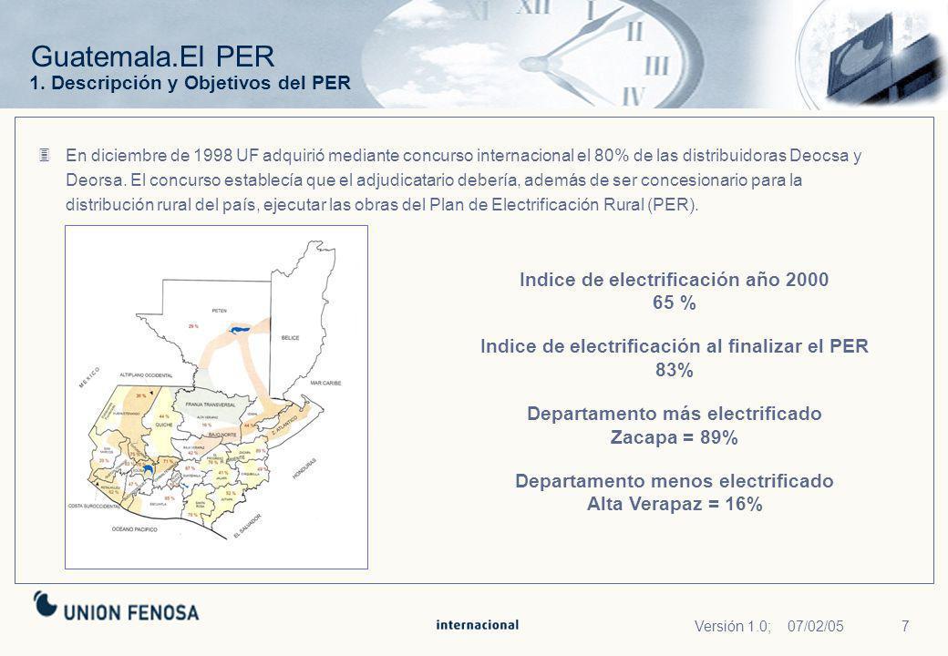 7Versión 1.0; 07/02/05 Guatemala.El PER En diciembre de 1998 UF adquirió mediante concurso internacional el 80% de las distribuidoras Deocsa y Deorsa.