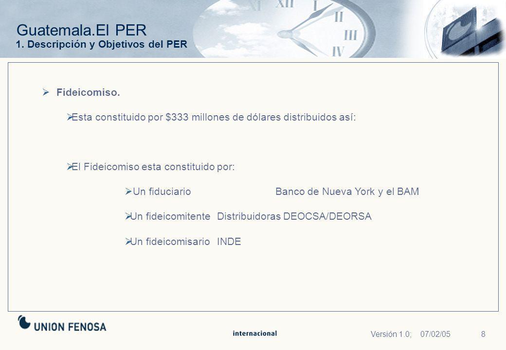 8Versión 1.0; 07/02/05 Guatemala.El PER Fideicomiso. Esta constituido por $333 millones de dólares distribuidos así: El Fideicomiso esta constituido p
