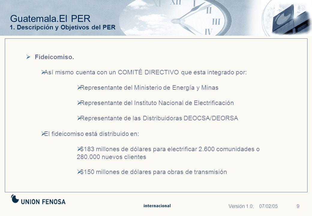 9Versión 1.0; 07/02/05 Guatemala.El PER Fideicomiso. Así mismo cuenta con un COMITÉ DIRECTIVO que esta integrado por: Representante del Ministerio de