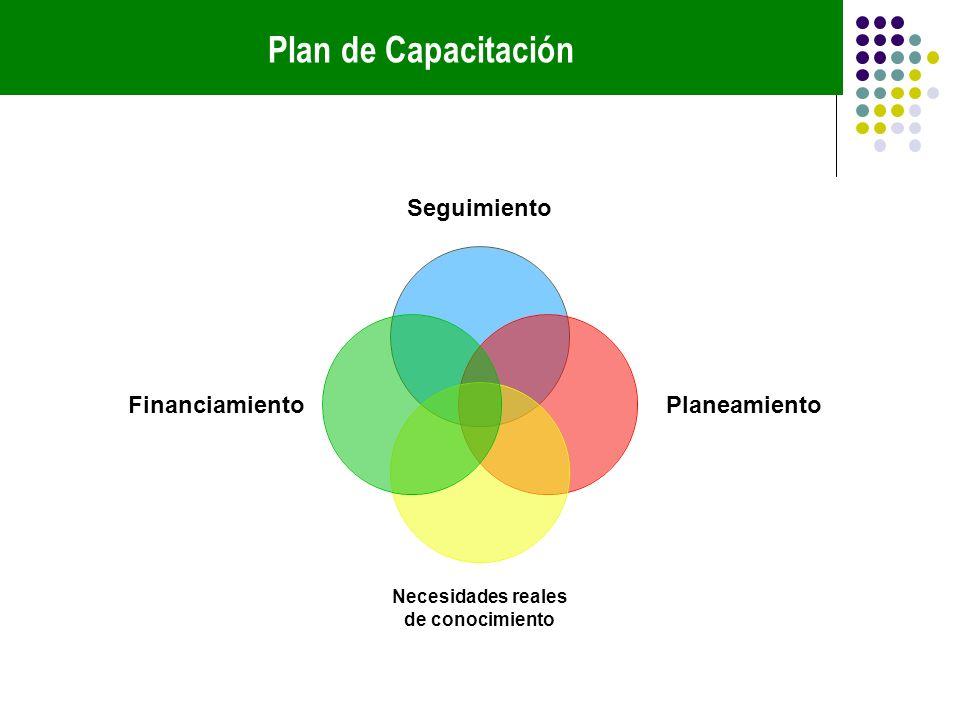 Plan de Capacitación Seguimiento Planeamiento Necesidades reales de conocimiento Financiamiento