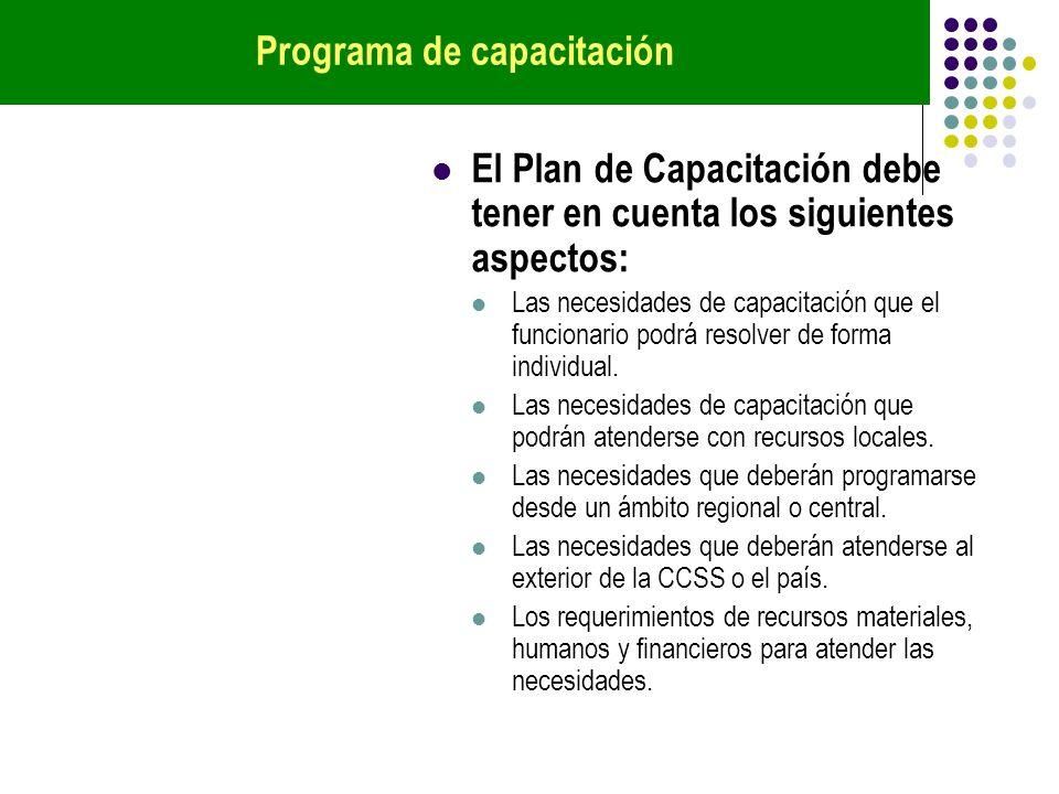 El Plan de Capacitación debe tener en cuenta los siguientes aspectos: Las necesidades de capacitación que el funcionario podrá resolver de forma indiv