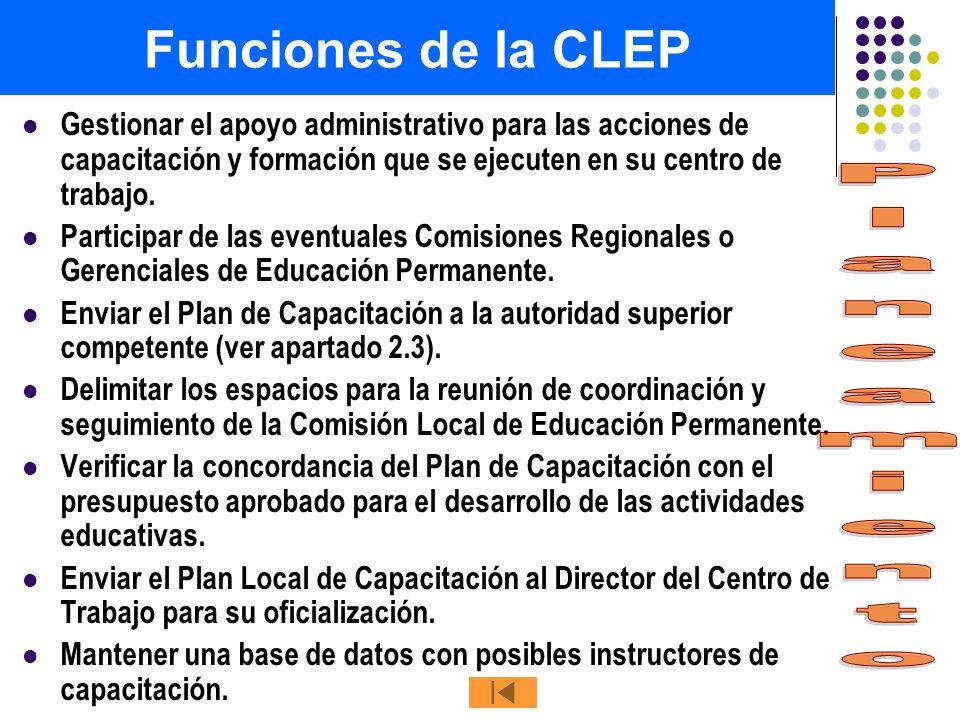 Funciones de la CLEP Gestionar el apoyo administrativo para las acciones de capacitación y formación que se ejecuten en su centro de trabajo. Particip